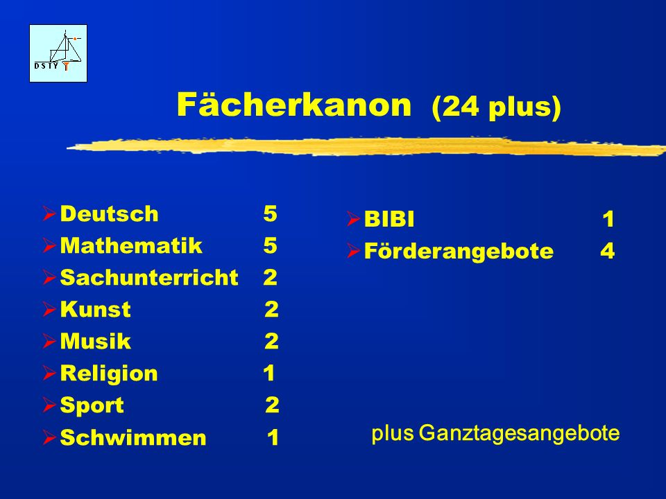 Fächerkanon (24 plus) Deutsch 5 BIBI 1 Mathematik 5 Förderangebote 4
