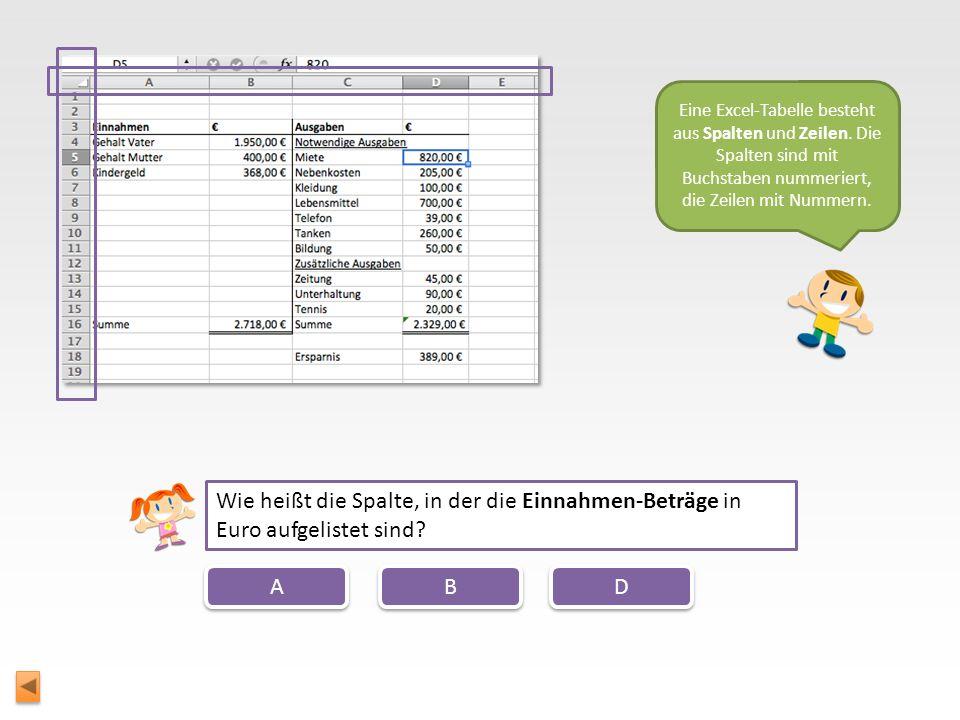 Eine Excel-Tabelle besteht aus Spalten und Zeilen