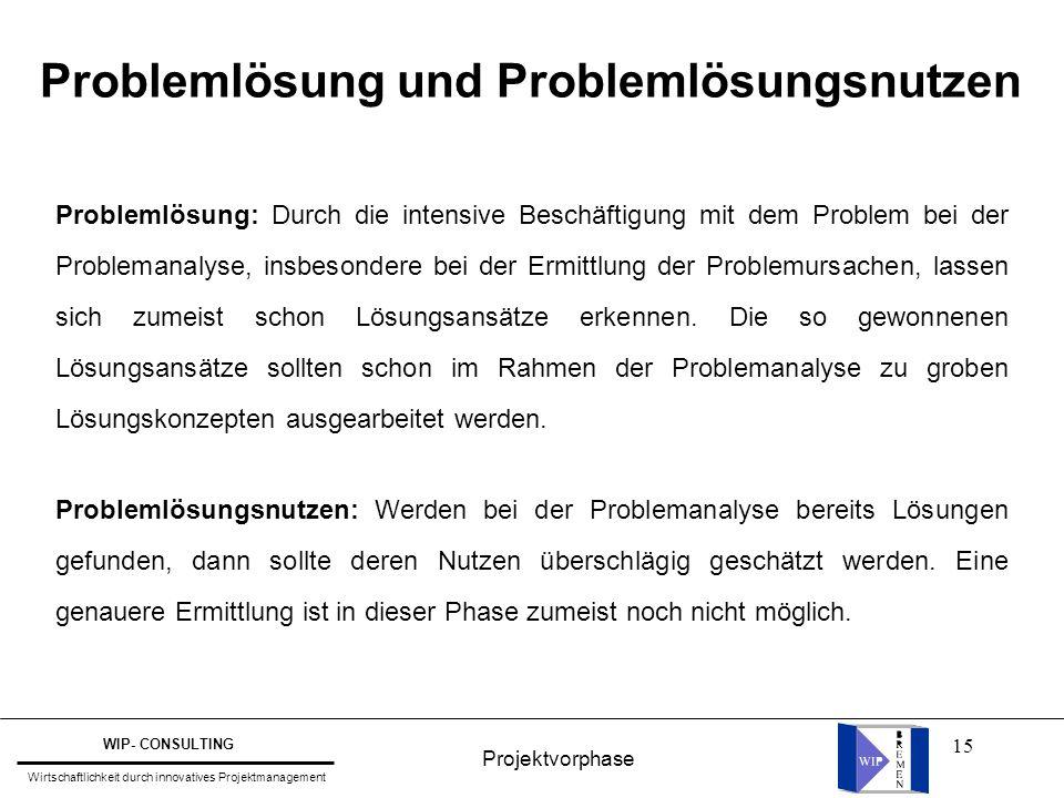 Problemlösung und Problemlösungsnutzen