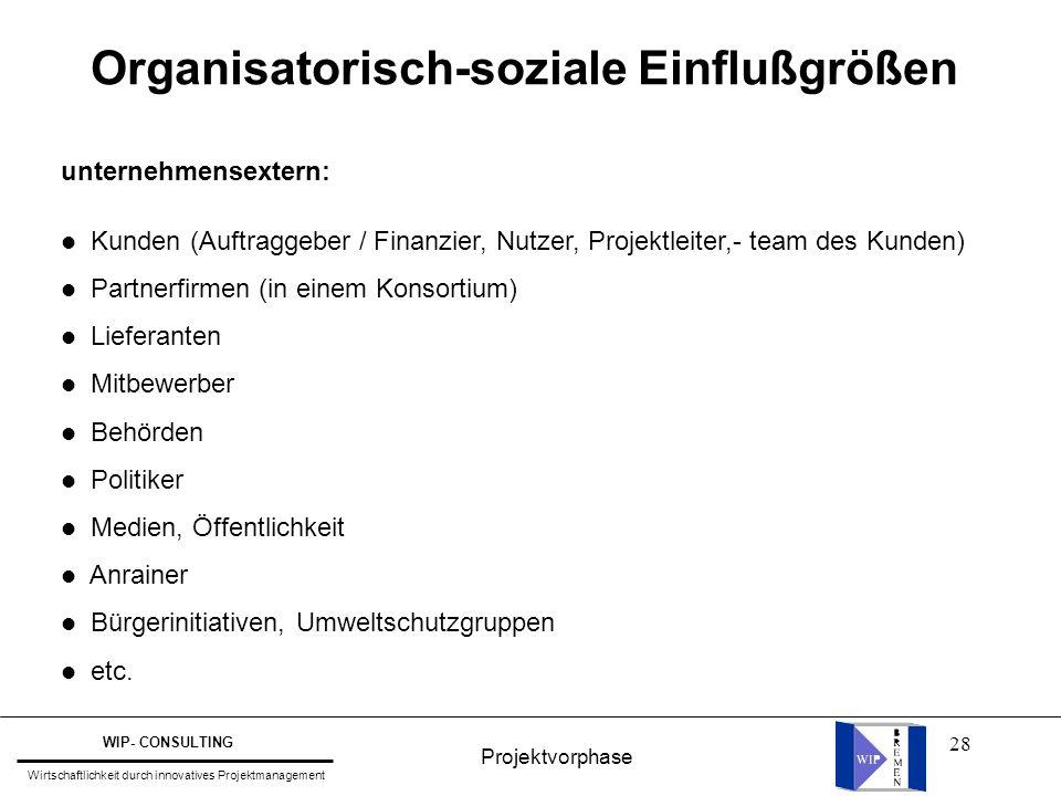 Organisatorisch-soziale Einflußgrößen