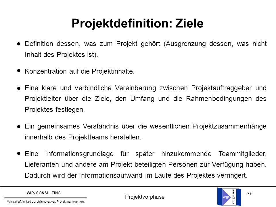 Projektdefinition: Ziele