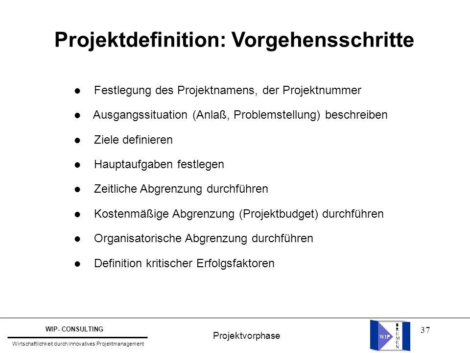 Projektdefinition: Vorgehensschritte