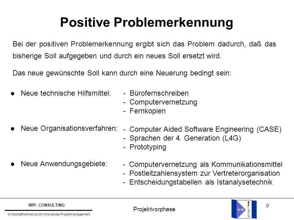 Positive Problemerkennung
