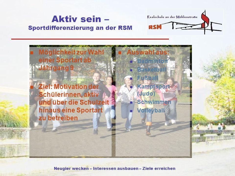 Aktiv sein – Sportdifferenzierung an der RSM