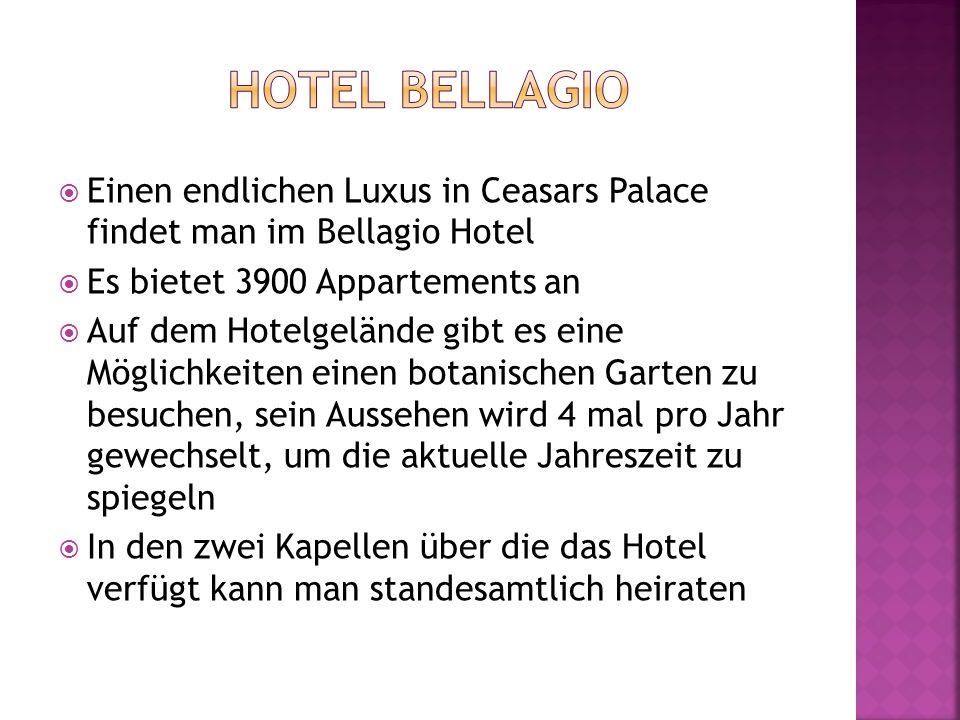 Hotel bellagio Einen endlichen Luxus in Ceasars Palace findet man im Bellagio Hotel. Es bietet 3900 Appartements an.