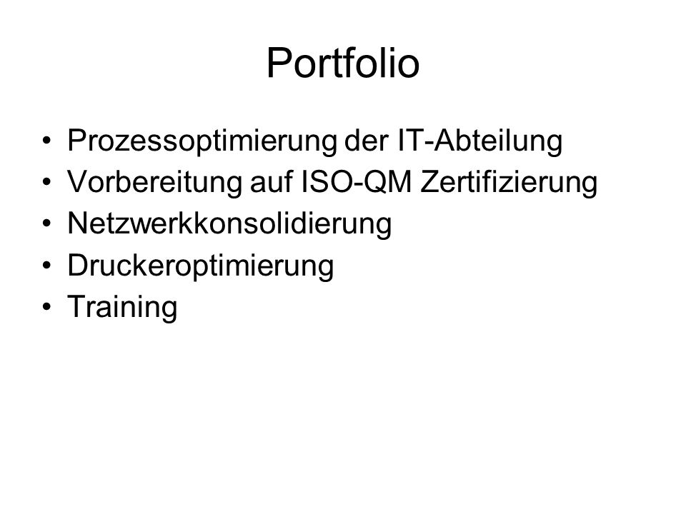 Portfolio Prozessoptimierung der IT-Abteilung