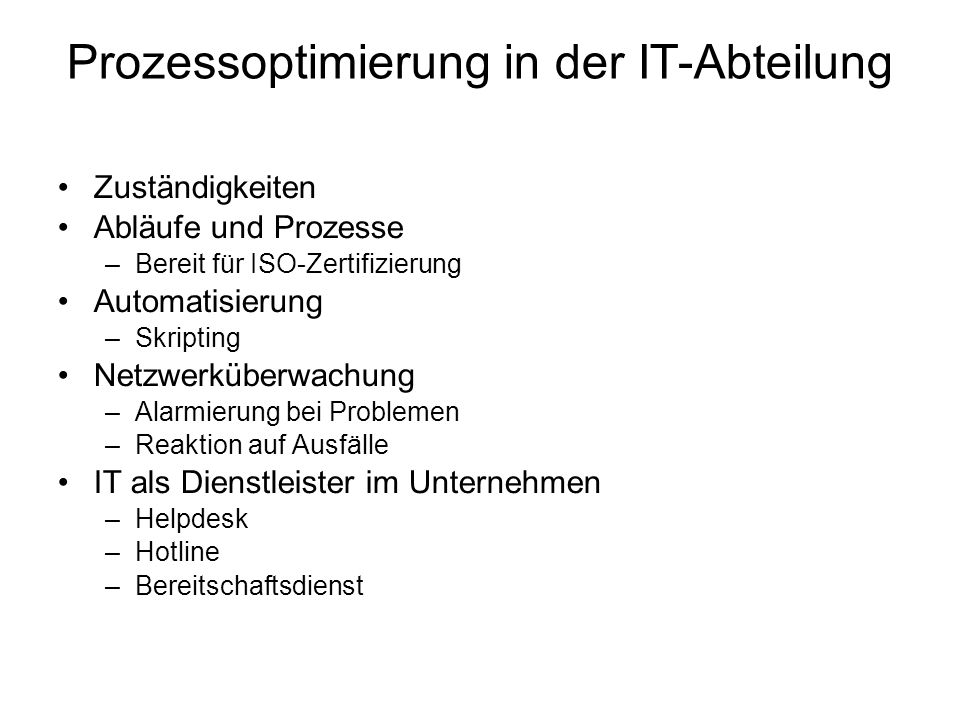 Prozessoptimierung in der IT-Abteilung