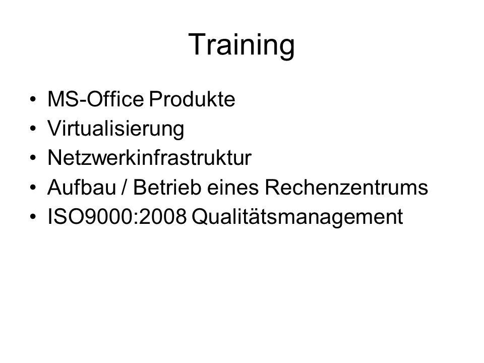 Training MS-Office Produkte Virtualisierung Netzwerkinfrastruktur