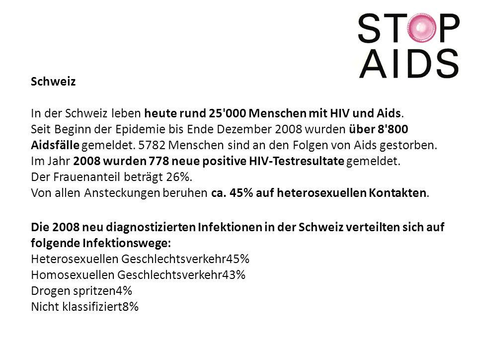 Schweiz In der Schweiz leben heute rund 25 000 Menschen mit HIV und Aids.