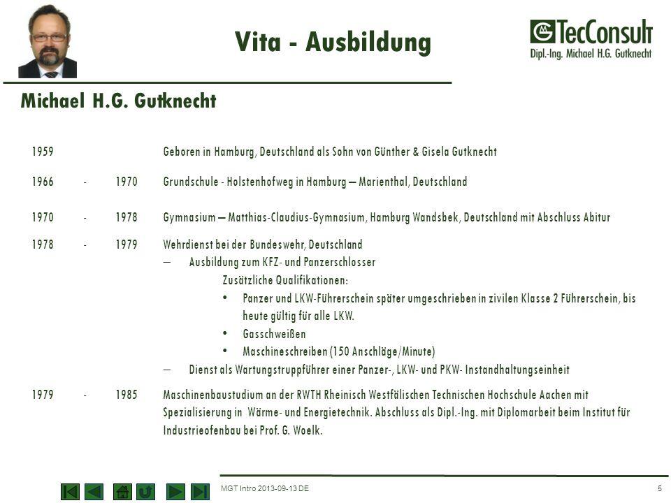 Vita - Ausbildung Michael H.G. Gutknecht 1959