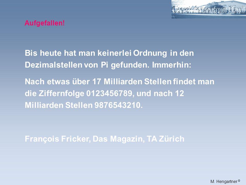 François Fricker, Das Magazin, TA Zürich