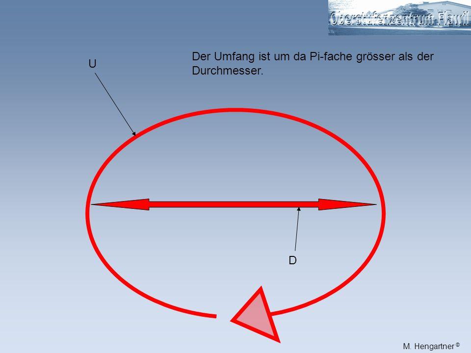 Der Umfang ist um da Pi-fache grösser als der Durchmesser.