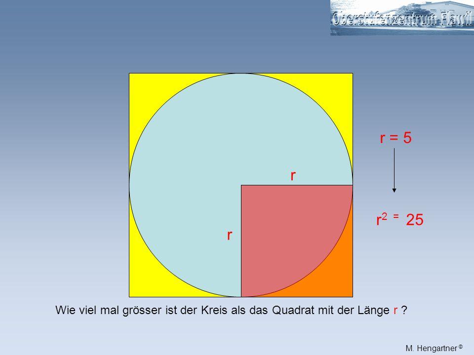 r = 5 r r2 = 25 r Wie viel mal grösser ist der Kreis als das Quadrat mit der Länge r