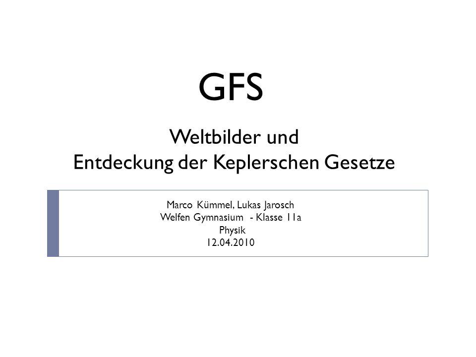 GFS Weltbilder und Entdeckung der Keplerschen Gesetze