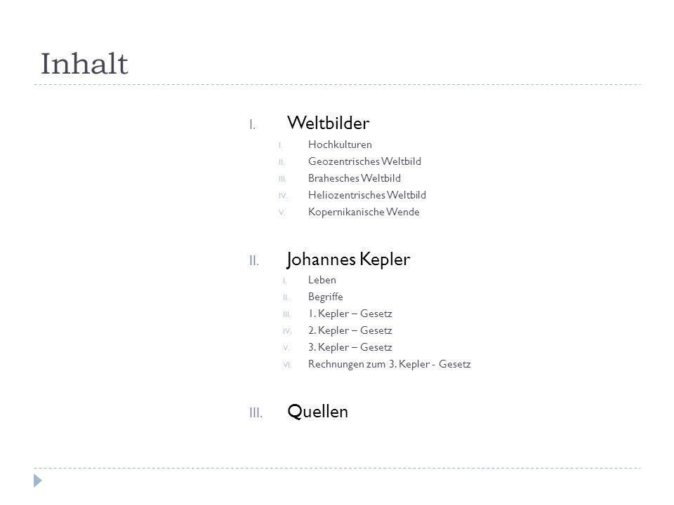 Inhalt Weltbilder Johannes Kepler Quellen Hochkulturen