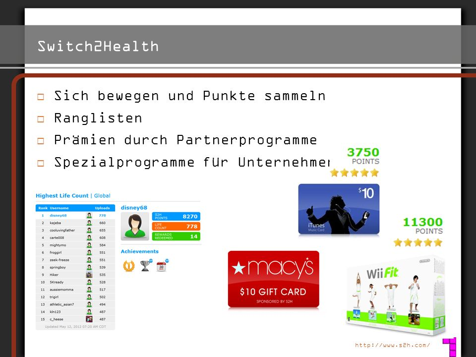 Switch2Health Sich bewegen und Punkte sammeln Ranglisten