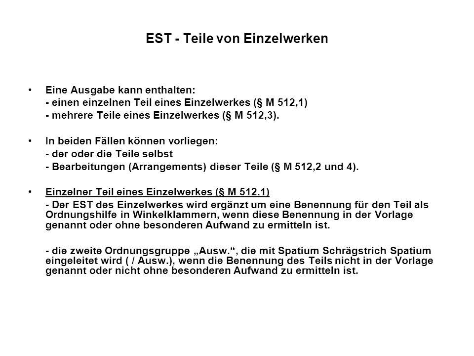 EST - Teile von Einzelwerken