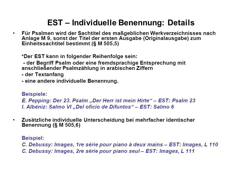 EST – Individuelle Benennung: Details