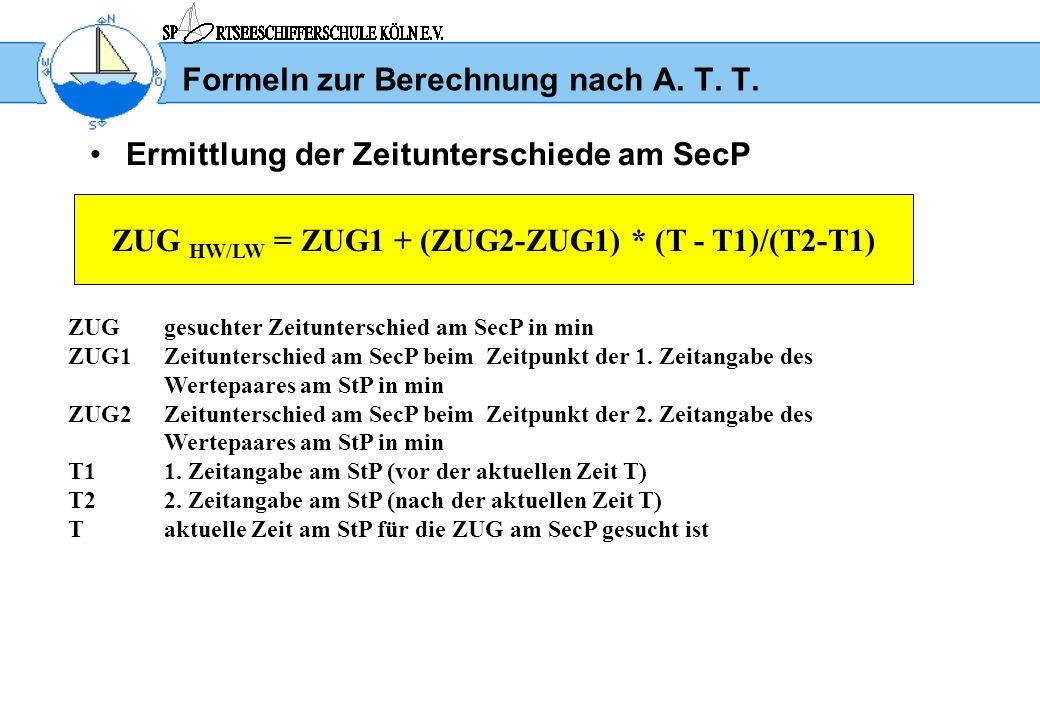 Formeln zur Berechnung nach A. T. T.