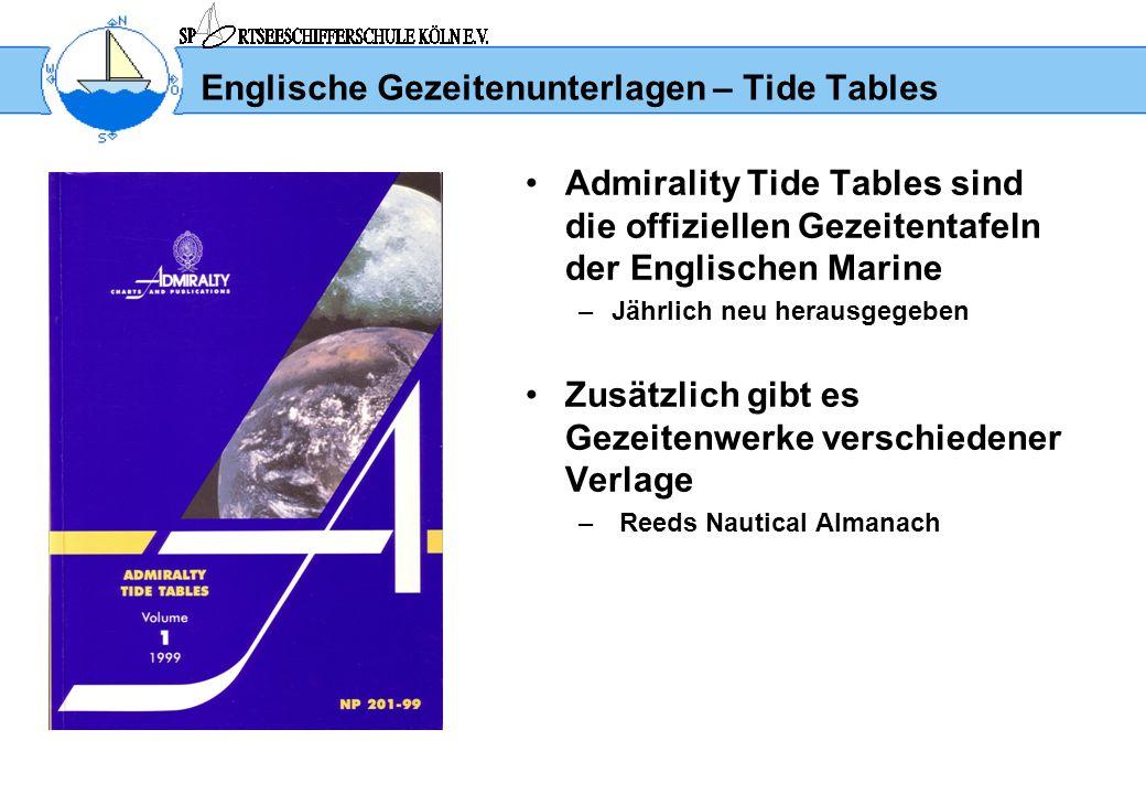 Englische Gezeitenunterlagen – Tide Tables