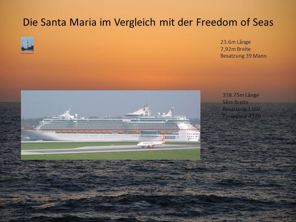 Die Santa Maria im Vergleich mit der Freedom of Seas