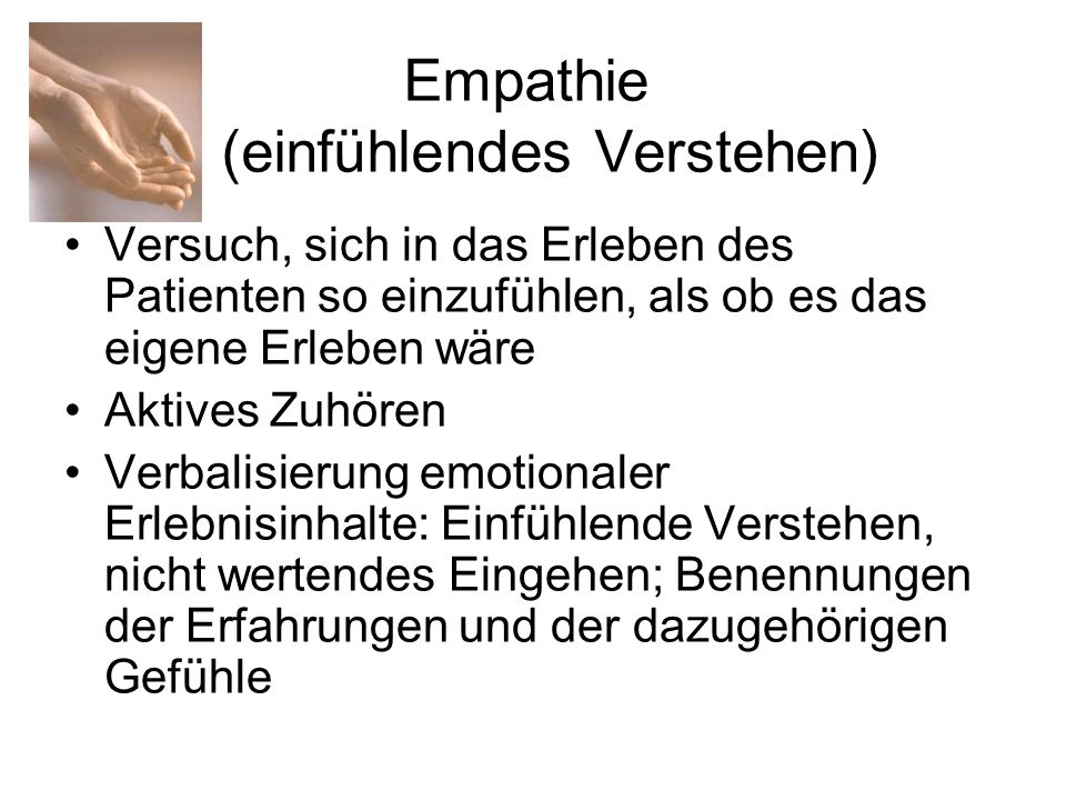 Empathie (einfühlendes Verstehen)