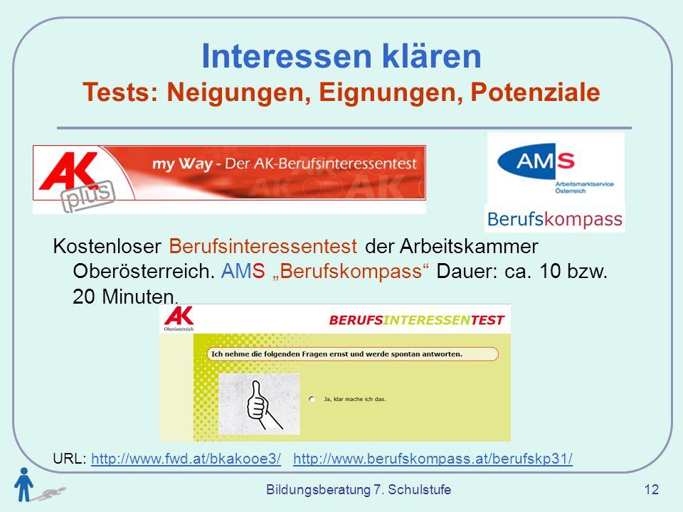 Tests: Neigungen, Eignungen, Potenziale