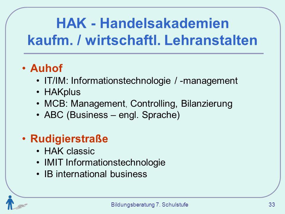 HAK - Handelsakademien kaufm. / wirtschaftl. Lehranstalten