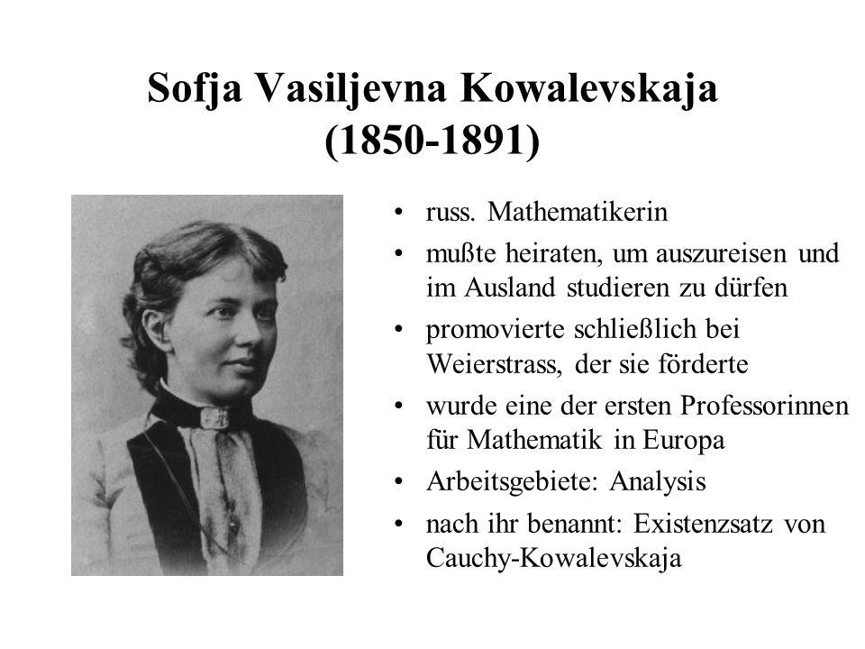 Sofja Vasiljevna Kowalevskaja (1850-1891)