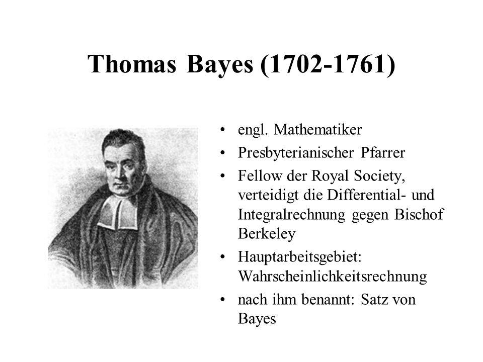 Thomas Bayes (1702-1761) engl. Mathematiker Presbyterianischer Pfarrer