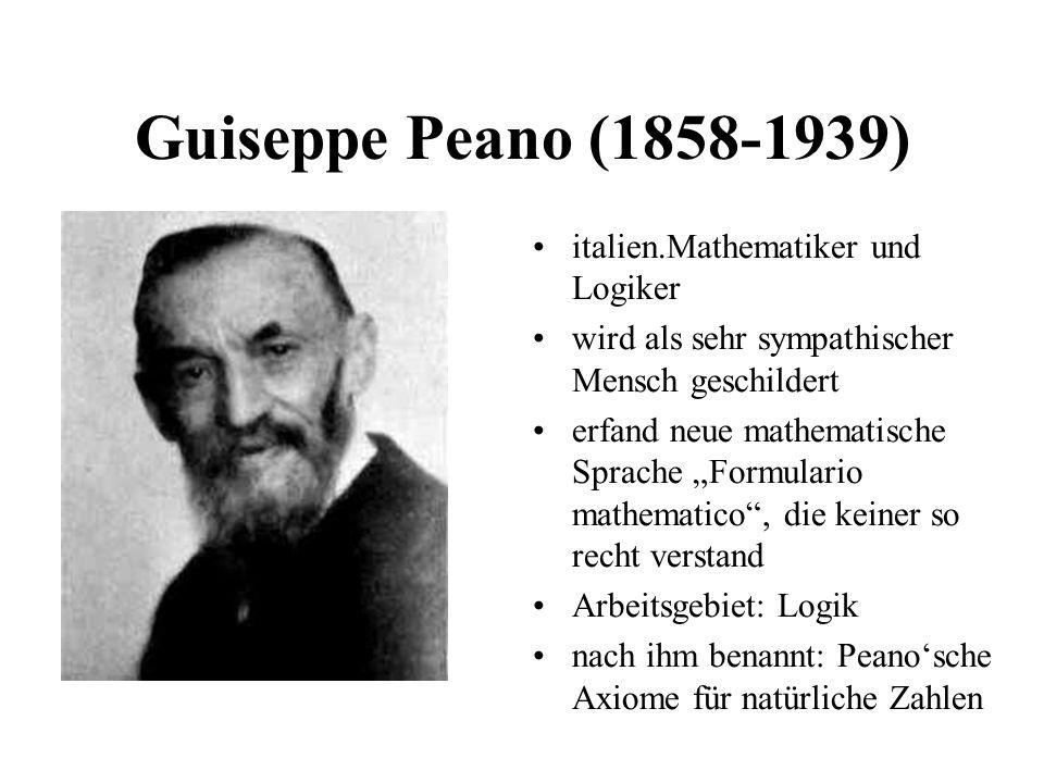 Guiseppe Peano (1858-1939) italien.Mathematiker und Logiker