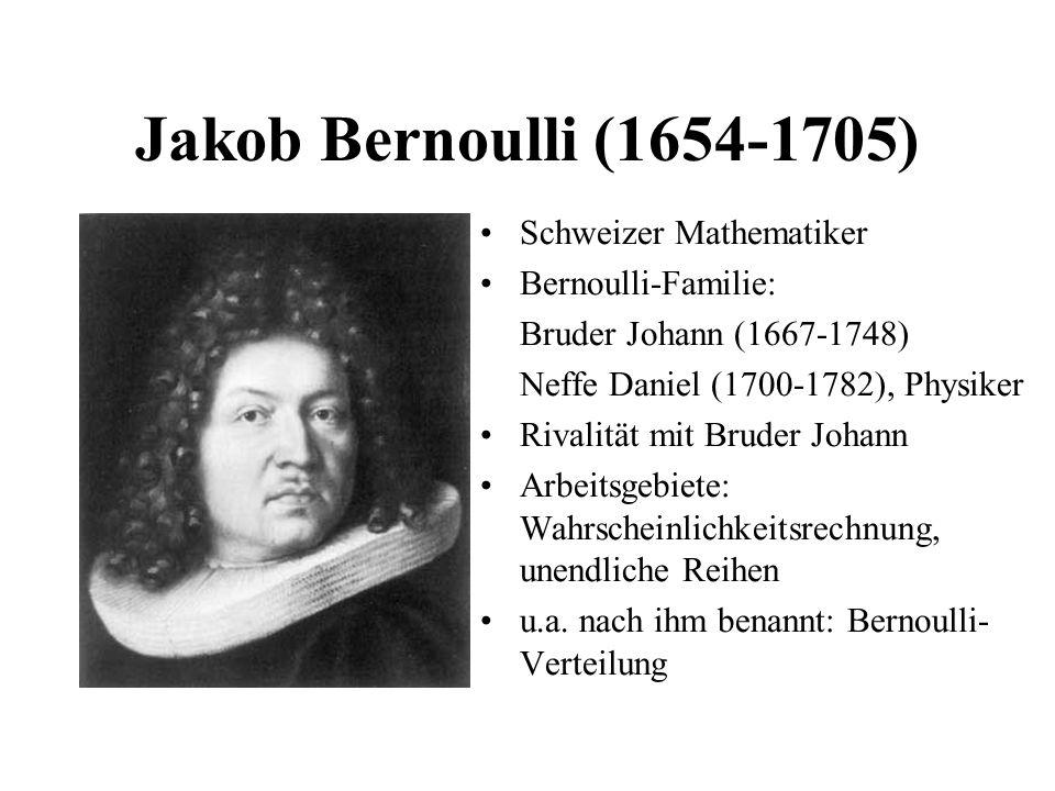 Jakob Bernoulli (1654-1705) Schweizer Mathematiker Bernoulli-Familie: