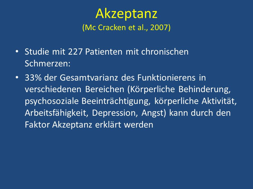 Akzeptanz (Mc Cracken et al., 2007)