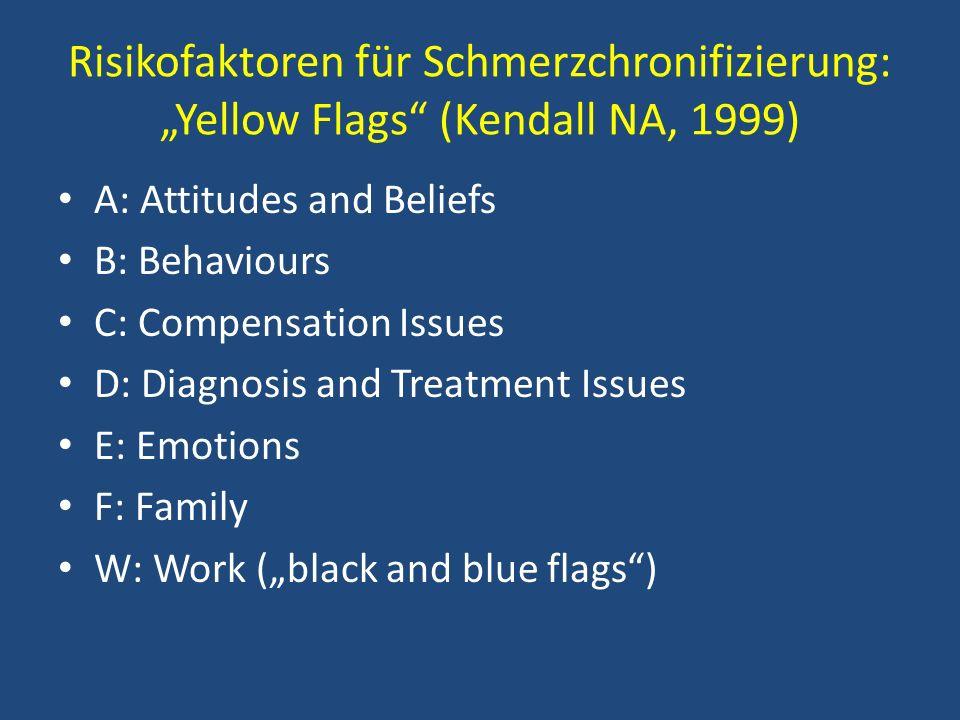 """Risikofaktoren für Schmerzchronifizierung: """"Yellow Flags (Kendall NA, 1999)"""