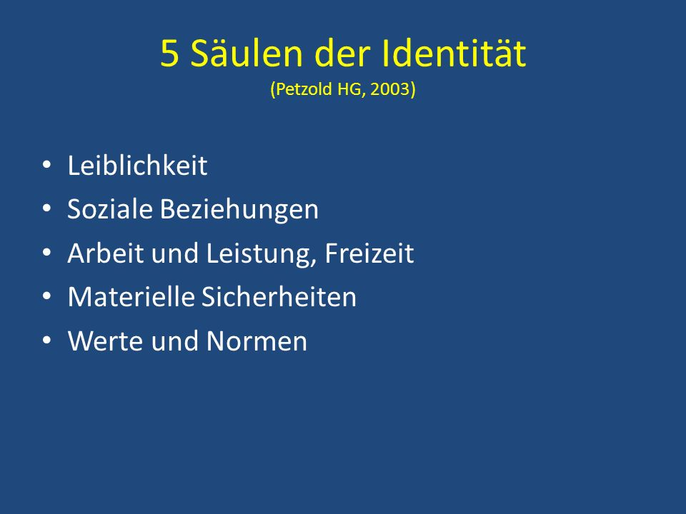 5 Säulen der Identität (Petzold HG, 2003)