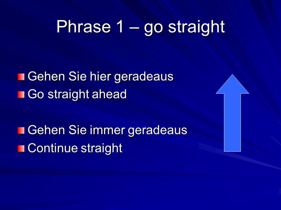 Phrase 1 – go straight Gehen Sie hier geradeaus Go straight ahead