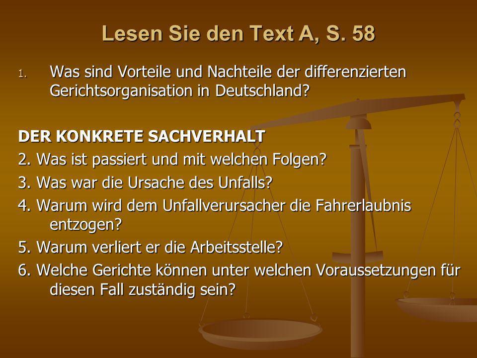 Lesen Sie den Text A, S. 58 Was sind Vorteile und Nachteile der differenzierten Gerichtsorganisation in Deutschland