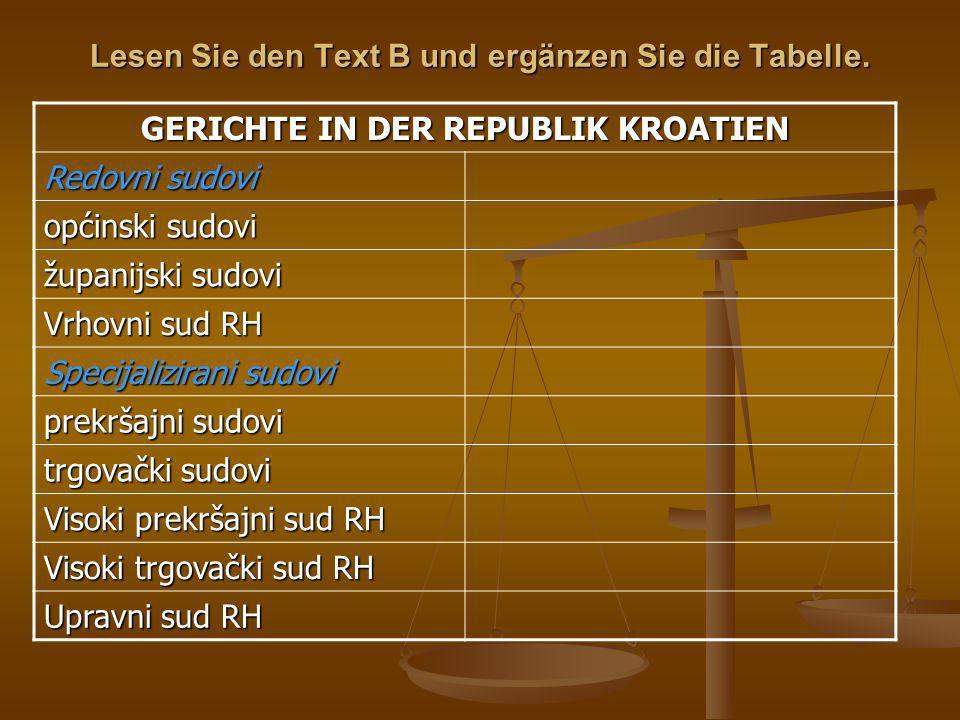 Lesen Sie den Text B und ergänzen Sie die Tabelle.