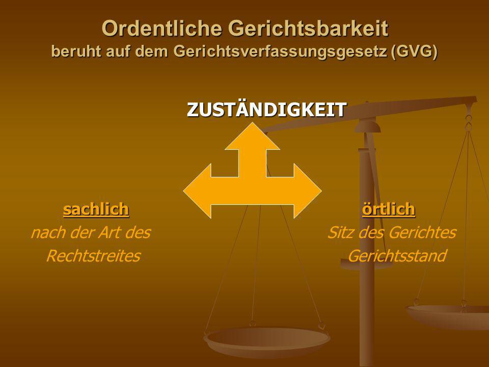Ordentliche Gerichtsbarkeit beruht auf dem Gerichtsverfassungsgesetz (GVG)