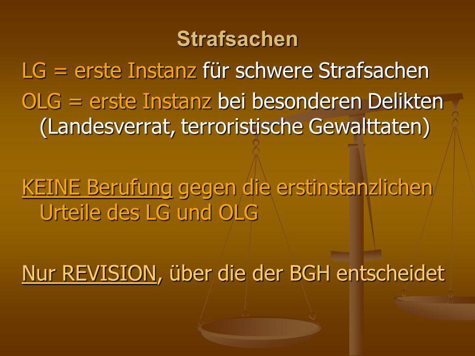 Strafsachen LG = erste Instanz für schwere Strafsachen. OLG = erste Instanz bei besonderen Delikten (Landesverrat, terroristische Gewalttaten)