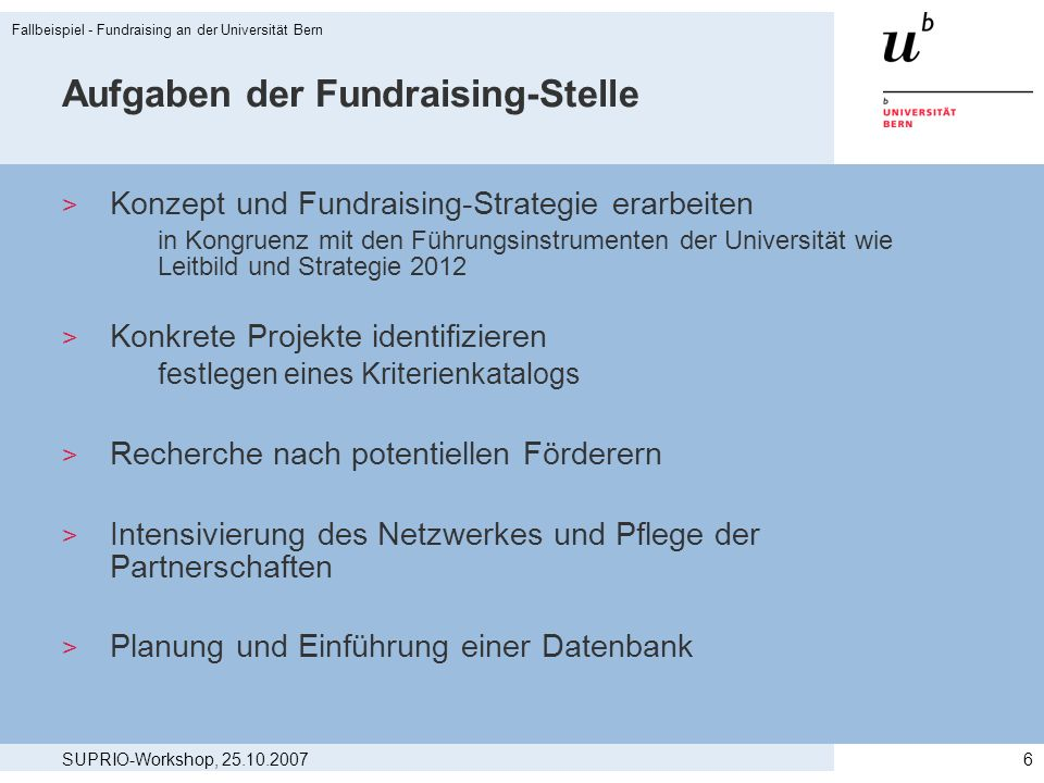 Aufgaben der Fundraising-Stelle