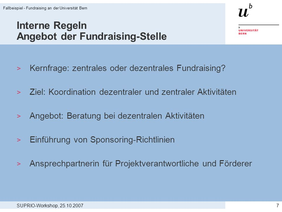 Interne Regeln Angebot der Fundraising-Stelle