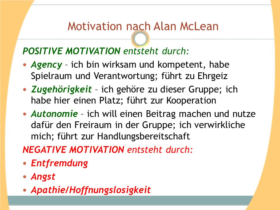 Motivation nach Alan McLean