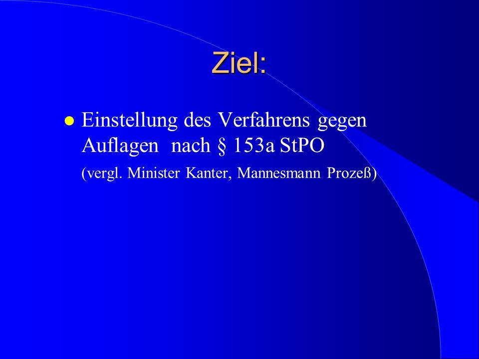 Ziel:Einstellung des Verfahrens gegen Auflagen nach § 153a StPO (vergl.