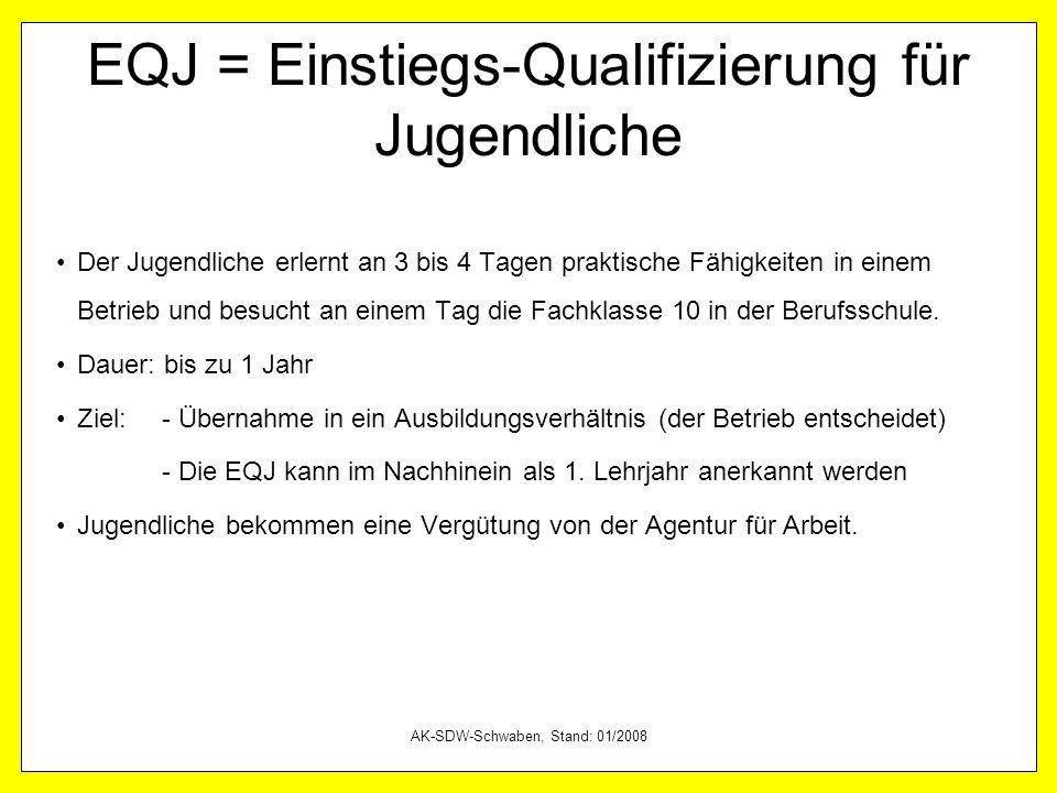 EQJ = Einstiegs-Qualifizierung für Jugendliche