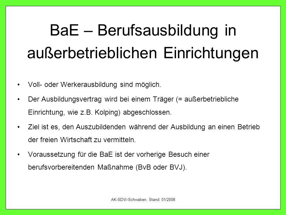 BaE – Berufsausbildung in außerbetrieblichen Einrichtungen