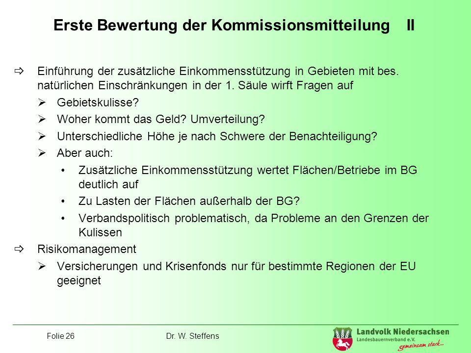 Erste Bewertung der Kommissionsmitteilung II