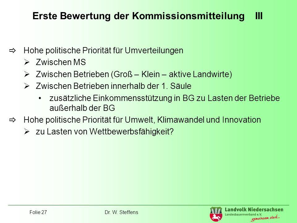 Erste Bewertung der Kommissionsmitteilung III