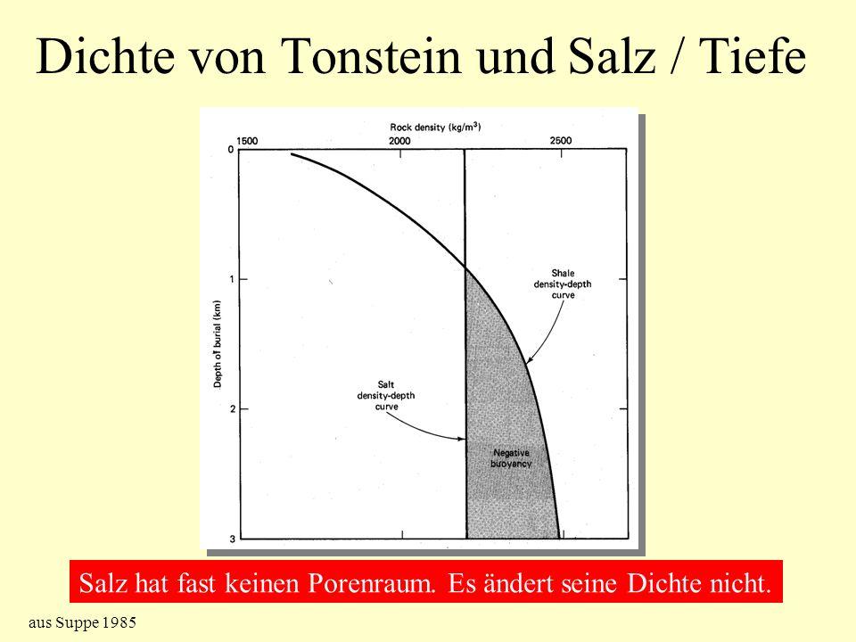 Dichte von Tonstein und Salz / Tiefe