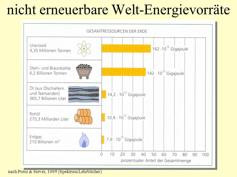 nicht erneuerbare Welt-Energievorräte